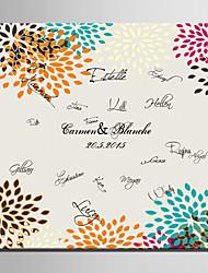 e-FOYER toile de signature personnalisée motif trame couleurs de mariage de paon
