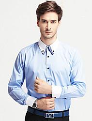 Men's Long Sleeve Shirt , Cotton/Cotton Blend Casual/Work/Formal/Plus Sizes Striped/Plaids & Checks/Pure