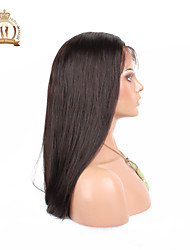 "10""-26"" Glueless Lace Front Wig Straight Malaysian Virgin Hair Color #2 Dark Brown Baby Hair for Black Women"