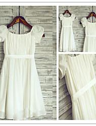Flower Girl Dress Tea-length Chiffon A-line Short Sleeve Dress