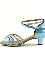 Zapatos de baile (Azul) - Danza latina/Salsa - Personalizados - Tacón grueso