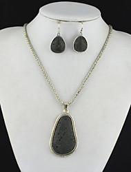 toonykelly vindima vulcão rocha antiga lava prata (brinco e colar) Conjunto de jóias