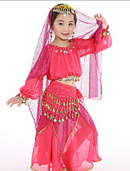 Belly Dance Performance Outfits Children's Performance Chiffon/Polyester Coins Outfit Red/Yellow/Fuchsia Kids Dance Costumes