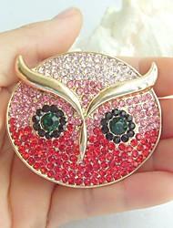 Women Accessories Gold-tone Red Pink Rhinestone Crystal Owl Brooch Art Deco Scarf Brooch Pin Women Jewelry