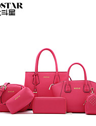 Handcee® Cheap Woman PU Leather Bag with 5 Small Bags