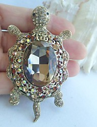 Women Accessories Gold-tone Topaz Rhinestone Crystal Tortoise Turtle Brooch Art Deco Scarf Brooch Women Jewelry