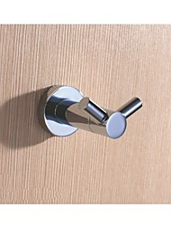 Bathroom Double Prong Robe and Towel Hook, Chrome Solid Brass