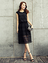 Women's Casual/Cute Micro-elastic Sleeveless Knee-length Dress