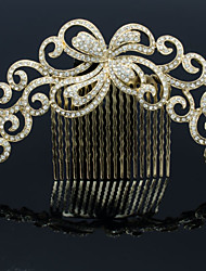 Alloy Gold Rhinestone Women Wedding Prom Flower Girl Leaves Flower Hair Comb