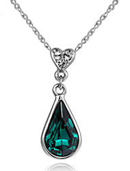 HKTC Concise Emerald Jewelry 18k White Gold Plated Green Crystal Heart Waterdrop Pendant Necklaces