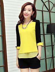 Camisetas ( Gasa )- Casual Redondo ½ Longitud de manga para Mujer
