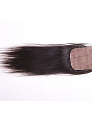 """8 """"-20"""" soie fermetures de bases 4 """"x4"""" fermeture brésiliens vierges humaine cheveux raides"""
