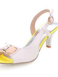 Women's Shoes Patent Leather Kitten Heel Peep Toe Sandals Dress Black/Blue/Yellow/Green/Pink/Navy