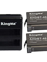 KingMa® 2pcs Rechargebale AHDBT-401 Battery 1200mAh+Dual USB Charger for Gopro Hero 4 Black Siler Camera Battery