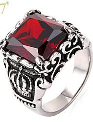 U7® Unisex 316L Stainless Steel Black Enamel Square Cut Big Red SWA Crystal Cool Statement Ring