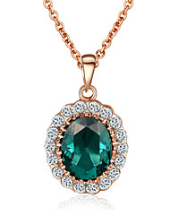 T&C Women's Emerald Elegant Cz Diamond Jewelry 18K Rose Gold Pated Green Crystal Pendants Necklaces