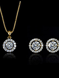 IDOO 18K Gold  Bright Classic Necklace Earring Set