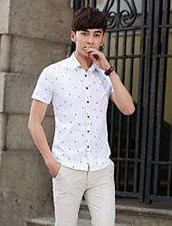 Men's Short Sleeve Shirt , Cotton Casual/Work/Formal
