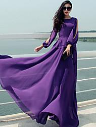 Women's Sexy Casual Maxi Plus Sizes Inelastic Long Sleeve Maxi Dress (Chiffon)