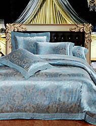 4-Piece The high-end Floral Jacquard Cotton Queen Duvet Cover Sets Ocean
