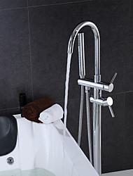 Badewannenarmaturen - Zeitgenössisch - Handdusche inklusive/Bodenstand - Messing ( Chrom )