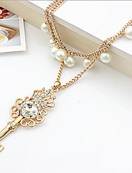 New Arrival Fashional Hot Selling Rhinestoen Crystal Key Pearl Necklace