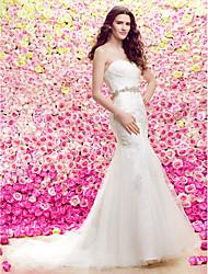 lanting novia lanting trompeta vestido de novia / sirena - color marfil tren de la corte del cordón / tul