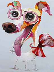 Animal Oil Painting Hand-Painted abstract dog Canvas Wall Art Other Artists One Panel Ready to Hang