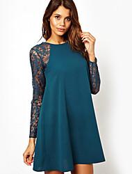 Ya Zhe Women'S Europe And America Stitching Round Neck Long-Sleeved Lace Dress Skirt Umbrella