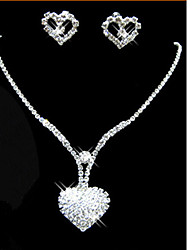 Lucky Doll Women's All Matching 925 Silver Plated Zirconia Long Tassel Heart Necklace & Earrings Jewelry Sets