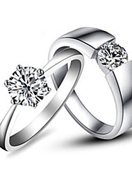 1CT Her Ring 0.25CT His Ring SONA Simulate Diamond Engagement Couple Rings Sterling Silver Platinum Plated Lover's Rings