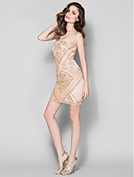 Homecoming TS Couture Cocktail Party Dress - Sheath/Column Strapless Short/Mini Tulle / Jersey