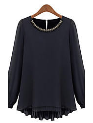Women's Casual Rhinestones Pleated Long Sleeve Long Blouse (Chiffon)