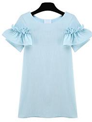 Vestidos ( Lino )- Casual Redondo Manga Corta para Mujer