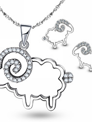 Elegant 925 Sterling Silver White Sheep Pendant Necklace and Earring Set