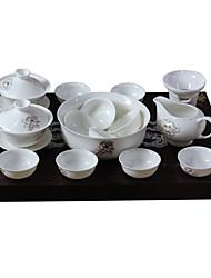 jogo de chá, conjunto de chá em cerâmica, jogo de chá porcelana, o bule de chá, chávena