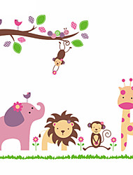 Giraffe Monkey Elephant Lion Zoo Animal Wall Stickers For Kids Room Zooyoo869 Pvc Wall Decals Home Decoration DIY