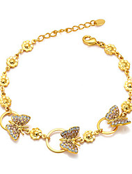 T&C Women's Lady Fashion Jewelry 18k Yellow Gold Plated Shining Austria Crystal Butterfly Pendant Bracelet