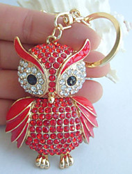 Charming Purse Pendant Bird Owl KeyChain With Red Rhinestone Crystal