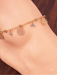 Women Fashion Body Jewelry Alloy Vintage Hollow Flower Rose Multi Chain Anklets
