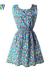 ZAY Women's Summer Casual Floral Print Sleeveless Waisted Dress