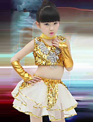 Jazz Performance Outfits Children's Performance Polyester Fashion Sequins Outfit Blue/Yellow Kids Dance Costumes