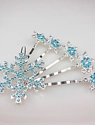Fashion blue Alloy snowflakes Hair Comb for Women, Weddding Hair Accessories with star Rhinestones for ladies