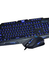 usb 2.0 dushifangyuan fio teclado para jogos backlit 114-key + kit mouse - preto
