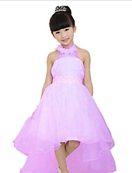 Girl's Summer Sleeveless Halter Flowers Lace Princess Dresses for Party Wedding(Cotton + Mesh)