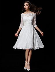 Trapèze Mi-long Dentelle Robe de mariée avec Billes Appliques Bouton Drapée sur le côté par LAN TING BRIDE®