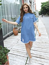 Women's Casual Round Short Sleeve Dresses (Rayon)