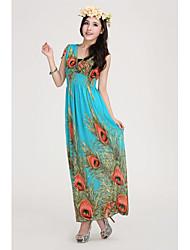 Women's Print Blue/Red/Black/Green/Orange Dress , Beach V Neck Sleeveless Ruched
