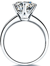 T Genuine Guarantee 2CT Solitaire Ring Finger Engagement Female SONA Diamond 6Prongs Setting 925 Silver 18K Gold Plated
