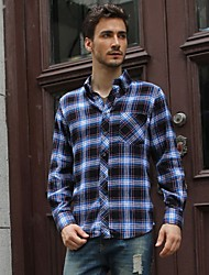 Men's Plaid Casual Shirts Classic College Style 100% Cotton Very Comfortable Long Sleeve Brands Factory Price Autumn Sale!